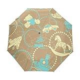 SUHETI Regenschirm Taschenschirm,Hölzerne rustikale Blumen am Gartenzaun Wallpaper Photography,Auf Zu Automatik,windsicher,stabil