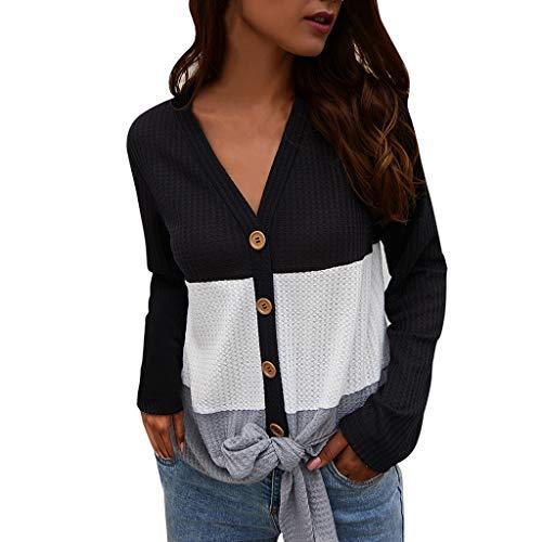 Auifor ✿ Dames werk casual punt-druk boho lange mouwen V-aanzet bovenkant t-shirt blouses rond
