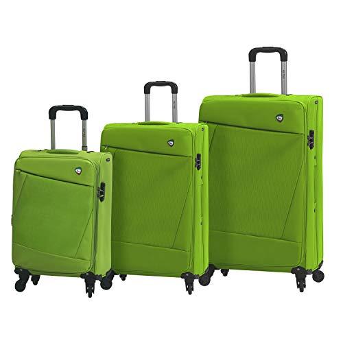 Mia Toro Italy Civetta Softside Spinner Luggage 3 Piece Set, Green, One Size