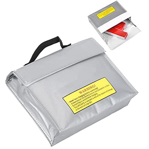 Bolsa de Seguridad para baterías, portátil Bolsa Segura de Li-Po ignífuga Fibra ignífuga Resistente al Calor para Aviones RC Almacenamiento de baterías para Almacenamiento de baterías de