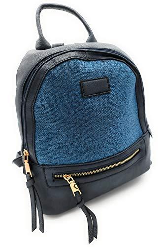 ZF Bolso mochila mujer, mochila mujer, mochila de rafia, práctica, cómoda y elegante (Azul Oscuro)