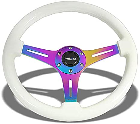 Black Wood Grain//Black Aluminum Slit Hole Spoke 350mm 2.00 Deep Dish ST-015BK-BK NRG Steering Wheel+Horn Button