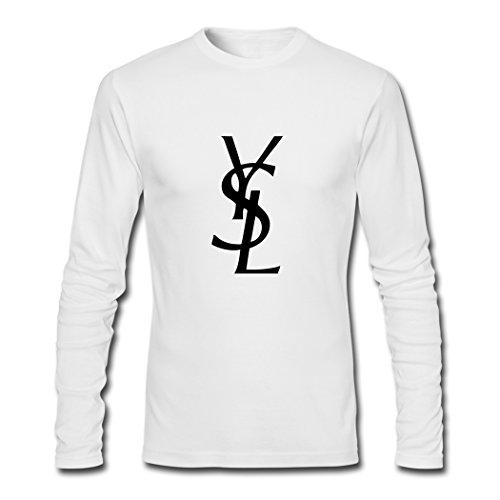 YVES SAINT LAURENT Men's Printing Long Sleeve T Shirt Medium White