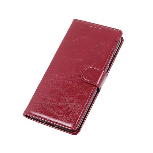HAOYE Hülle für Oppo Reno2 Hülle, Flip Wallet Hülle Cover, [Flip Stand/Kartensteckplatz] Anti-Rutsch Leder PU Handyhülle Schutzhülle mit Magnet/Geldbörse/Halter, Rot