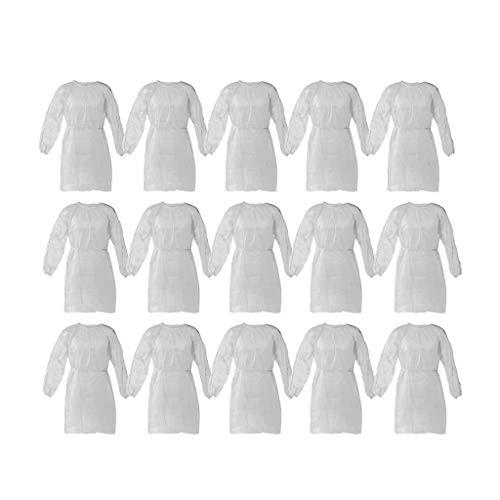10 Stück/5 Stück Einweg-Schutzkittel, Regenponchos für Erwachsene, wasserdicht atmungsaktiv tragbarer Regencape zum Anti-Fog Antipartikel (Weiß, 15 Stück)