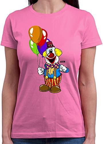 HARIZ Damen T-Shirt Rundhals Clown Luftballons Fröhlich Karneval Kostüm Inkl. Geschenk Karte Rosa L