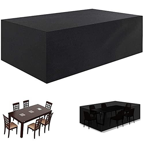 Funda para Mesa de Jardín, Cubierta para Muebles de jardín, Fundas de Muebles Exterior 420D Oxford, Impermeable Anti-UV Resistente al Polvo -Negro190x90x80cm