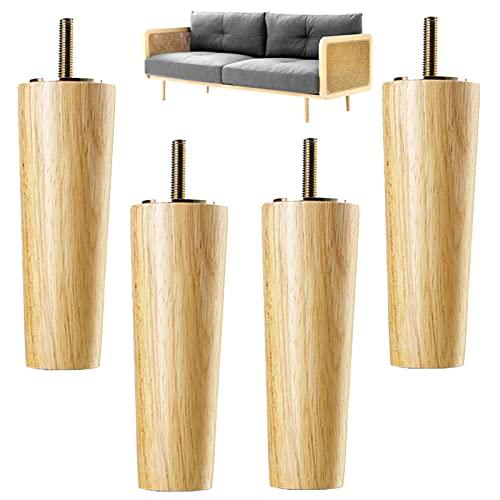 Moderne Holz Möbelfüße 4 Sofa Beine, Sessel Möbelbeine, mit 6-60 cm Gewindeschrauben Befestigungsplattenschrauben, für Kommode Sofa Schrankfüße