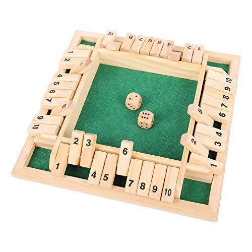 colmanda Holz Brettspiel, 4 Spieler Flop-Spiel Vierseitiges Brettspiel Würfelspiel Board Spielzeug, Holz Tisch Spiel Klassisch für Kinder Family Unterhaltsames Spiel