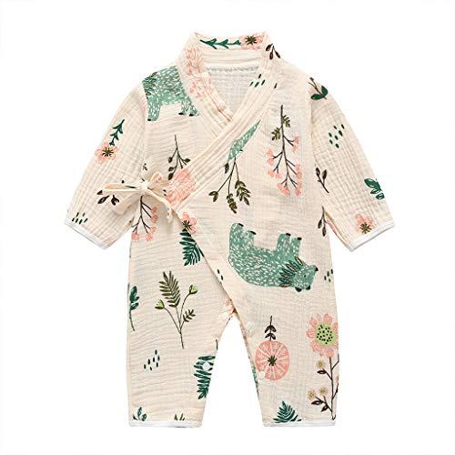 0-18 Meses,SO-buts Recién Nacido Bebé Niño Niñas Otoño Invierno Hilo De Dibujos Animados Túnica Kimono Mono Ropa De Dormir (Beige,3-6 meses)