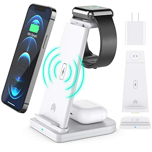 Wireless Charger, 3 in 1 Qi-Certified Fast Wireless Charging Station Charger Stand Dock for iPhone 12/11/11Pro Max/X/XS/XR/Xs/8/8 Plus, Apple Watch Series 6/5/4/3/2/1, AirPods Pro, Samsung S20/S10