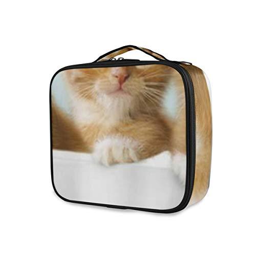 SUGARHE Nette Katzen in der großen Schüssel reizenden Haustier Wasser Seife,Kosmetik Reise Kulturbeutel Täschchen mit Reißverschluss