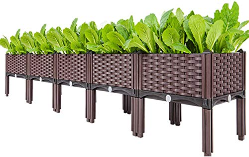 Z-DYQ Raised Garden Bed Elevated Planting, Outdoor Planter Boxes with Legs, Modern Rattan-Style Plastic Plant Stand, Garden Raised Bed for Vegetables,16'x16'x14'/40x40x36cm