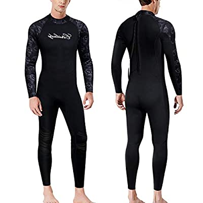 CtriLady Wetsuits Men Guardian 1.5mm Neoprene Full Scuba Diving Suits Surfing Swimming Long Sleeve Suits Keep Warm Back Zip for Water Sports(Black, XX-Large)