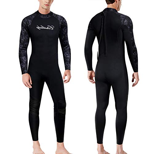 CtriLady Wetsuits Men Guardian 1.5mm Neoprene Full Scuba Diving Suits Surfing Swimming Long Sleeve Suits Keep Warm Back Zip for Water Sports(Black, XXX-Large)