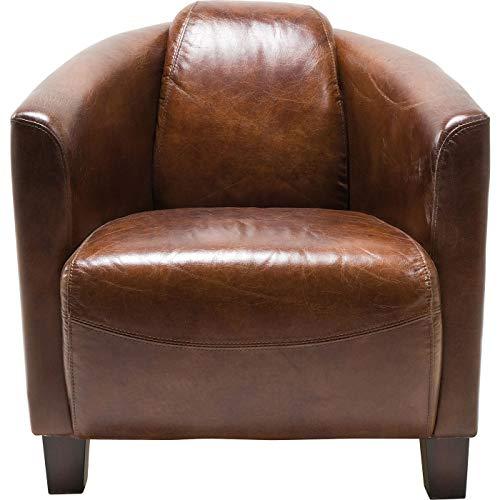 Kare Sessel Cigar Lounge, Braunes Echtleder, bequemer TV-/Couch-/Chill Sessel im Retro-Design, Kolonialstil Sessel, Relaxsessel zum Lesen, (H/B/T) 70x72x83cm