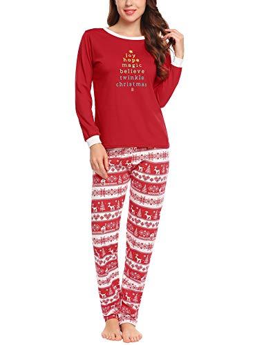 Ekouaer Weinachten Schlafanzug Langarm Damen Pyjama Set mit Sleepshirt Pyjamahose Herbst Winter Nachtwäsche Lang Sleepwear Set,rot,l