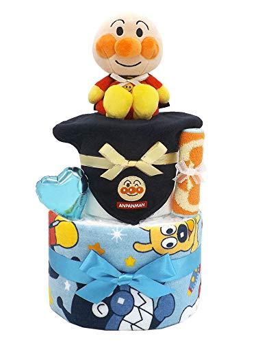 おむつケーキ アンパンマン 2段 ブルー スタイA 男の子用 ck-586 (パンパースSサイズ)