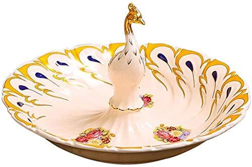 Frutero, cesta de frutas, cerámica, para el hogar, mesa de café de pavo real, plato de caramelo, decoración de escritorio, 31 x 17 x 6 cm, color blanco