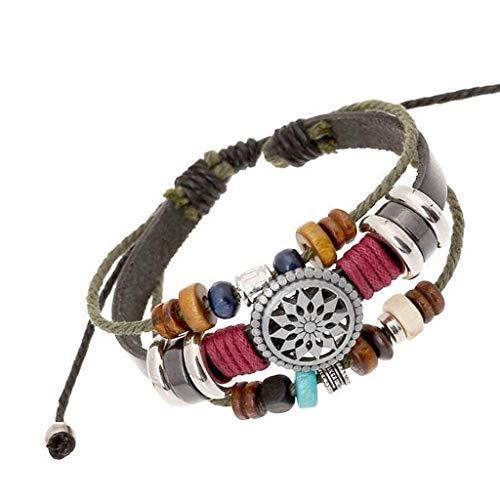 OYEFLY Vintage Bohemia Beaded Bracelet, Multilayer Hand Woven Wristbands, Hemp Cords Wrap Bracelet Jewelry for Men and Women (Black)