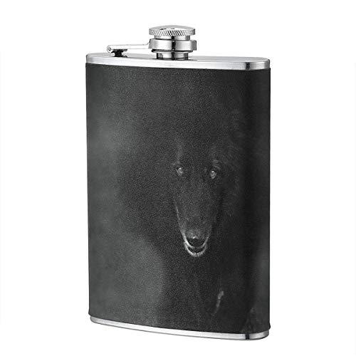 XBYC Belgischer Schäferhund Nebel Wolf Schatten 8 Unzen 304 Edelstahl Schwarzes Leder Wickelflasche für Liquor Whisky Bourbon und Slim Bend