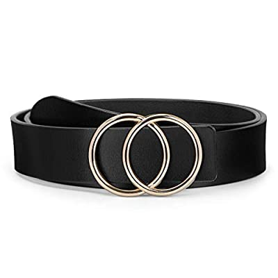 O ring Golden Buckle Fashion Women Leather Belts for Pants Jeans, Plus Size Waist Ladies Designer Belts by WERFORU, Black, Pants Size 39-43 inches