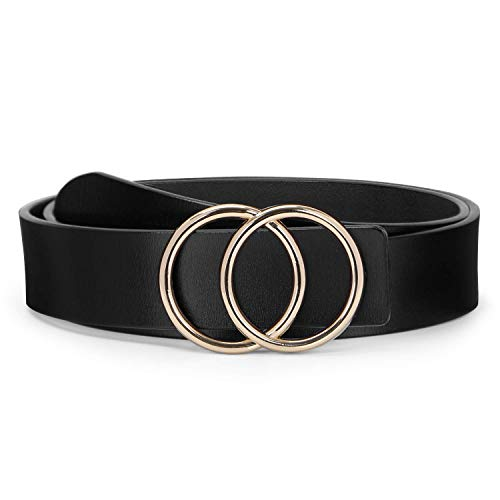 O ring Golden Buckle Fashion Women Leather Belts for Pants Jeans, Plus Size Waist Ladies Designer Belts by WERFORU, Black, Pants Size 27-31 inches