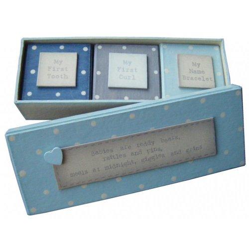 East of India Lot de 3 boîtes Ma première dent / Mon bracelet d'identité / Ma première mèche Bleu
