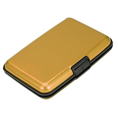 Hengyuanyi Aluminium creditcard-beschermer, waterdicht Business ID Credit Card Wallet Holder Aluminium Metal Case Box goud