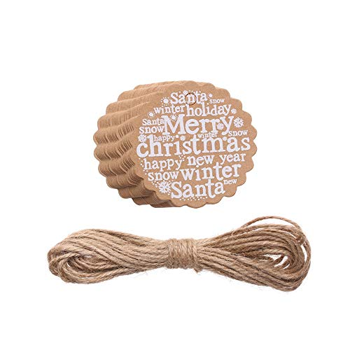 neaverler 25pcs Paper Wedding Party Wrapping Luggage Brown Kraft Gift Tags+5m Rope Package Hanging Label Merry Christmas Printing(Style F)