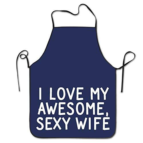 N / A Chefs Delantal,Delantales De Cocina,Delantal Infantil,I Love My Sexy Awesome Wife Kitchen Delantales De Mujer Delantales Divertidos para Adultos Delantales Divertidos para Hombres Mujeres