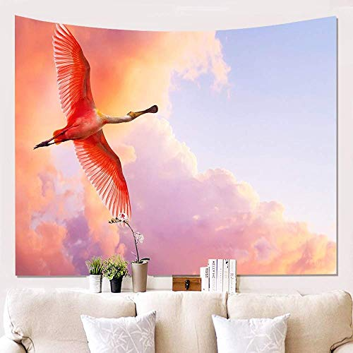 Tapiz decoración de la Pared, Animal Volador Flamenco Bohemio Colgante de Pared Hippie psicodélico Lona de Gran tamaño Estera de Yoga Dormitorio decoración del hogar (200 cm * 150cm)