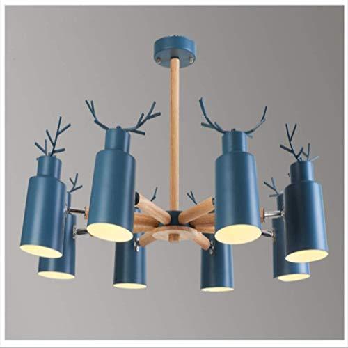 SKSNB Antlers Candelabros de Resina de Estilo Vintage con 8 Luces, candelabros de asta de Campo Rural Americano, Sala de Estar, Bar, cafetería, Comedor, lámpara de Cuerno de Ciervo, Azul