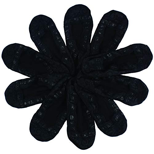 Andux 5 Paar Damen Füßlinge und Sneakersocken Spitze Socken mit Rutschfeste Silikon HBCW-01 (Schwarz) Mehrweg