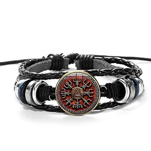 Herrenarmband Vintage Viking Kompass Leder Armband Männer Frauen Nordische Runen Odin Symbol Gedruckt Glas Zeit Edelstein Charm Armbänder Bangles
