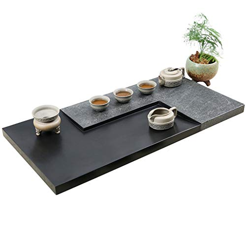 Best Bargain Tea tray Chinese Kung Fu tea tray/tea table natural stone black tea tray Japanese recta...