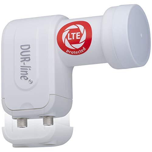 DUR-line +Ultra Twin LNB - 2 Teilnehmer weiß - mit LTE-Filter [ Test SEHR GUT *] 2-Fach, digital mit Wetterschutz, Full HD, 4K,Premium-Qualität