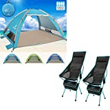 G4Free Large 3-4 Persons Pop up Beach Tent + High Back Folding Camping Chair with Side Pocket