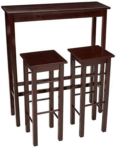 Amazon Basics – Juego de mesa auxiliar y taburetes de desayuno, 3piezas, color marrón Espresso