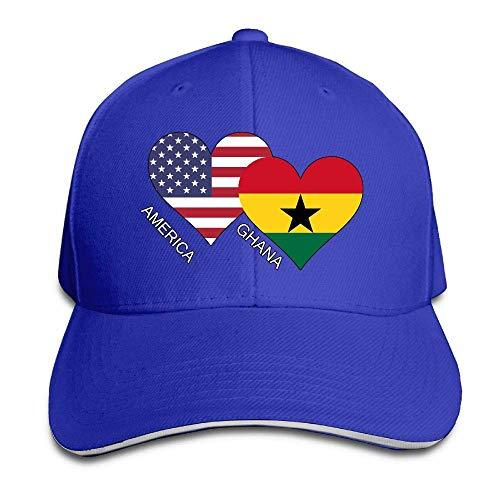Presock Prämie Unisex Kappe America Ghana Flag Heart Adult Adjustable Snapback Hats Dad Hat