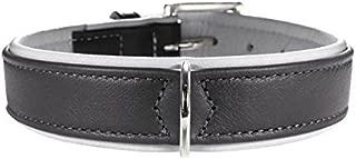 hunter Soft Canadian Elk Leather Dog Collar, 30 cm, Dark Grey/Grey