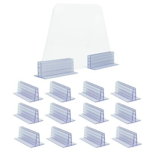 Pack of 12-Adhesive Sign Holder Plexiglass Holder,Sneeze Guard Holder, Acrylic Panels Holder,Fits 3/16' to 1/4' Thick