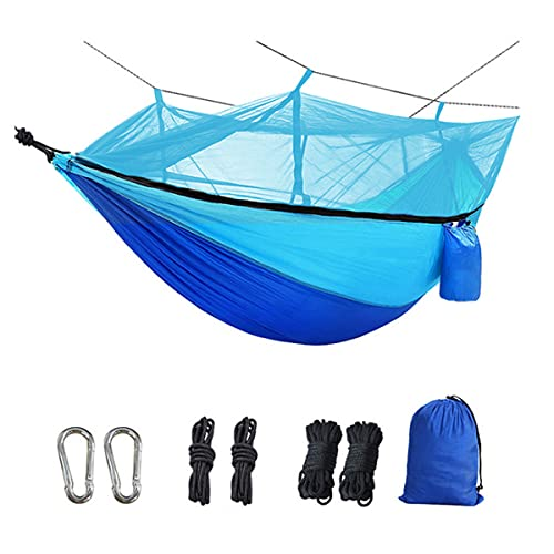 HOMELECT Hamaca de Camping con mosquitera, Hamaca de Viaje al Aire Libre portátil Doble e Individual, hamacas de Nailon paracaídas con Correas de árbol y mosquetones, para Viajes de mochilero, Azul