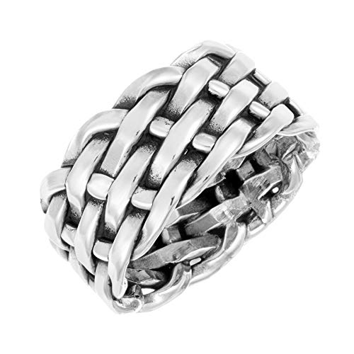 Silverly Men's Women's .925 Sterling Silver 9.8 mm Woven Plaited Braided Ring