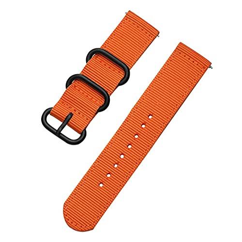 WWXFCA Correa deportiva de nailon tejido para Samsung Galaxy Gear S3 S2 Classic Bands Amazfit de 18 mm, 24 mm, 22 mm, 20 mm, color de la correa: naranja, ancho de la correa: 18 mm