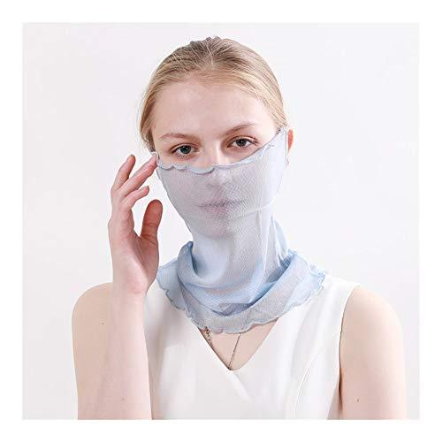 QXX Velo Protector Solar Cubierta de la Cara del oído Que cuelga de la Bufanda de la Bufanda de la Bufanda (Color : Blue)