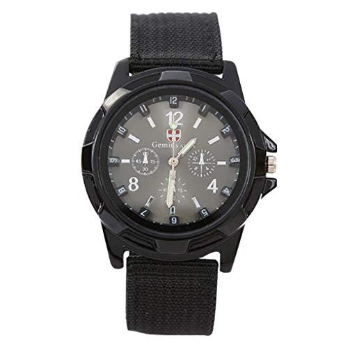 Guangcailun Casual Reloj de Cuarzo con la Banda de Nylon Suave Ajustable Hombres del Deporte del Reloj de la Manera