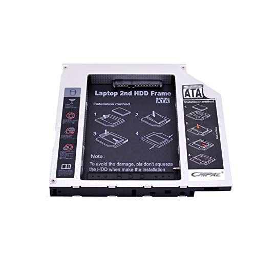 WTBH Drives Flash Aluminio SATA A Pata IDE 2ND HDD Caddy 12.7mm 9.5mm para 2.5'Caja de Disco Duro SSD HD Clave para DVD-ROM CD-ROM para computadora portátil Unidades de Disco Duro (Color : 9.5MM IDE)