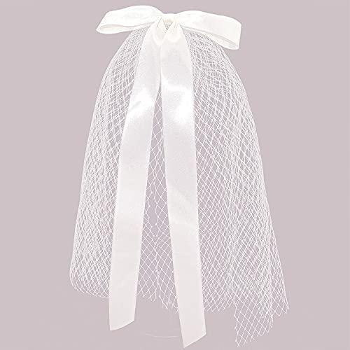 juntao Velo de pelo con clips hechos a mano accesorios de boda de compromiso, pelo blanco marfil tocado lazo nupcial (color: blanco)
