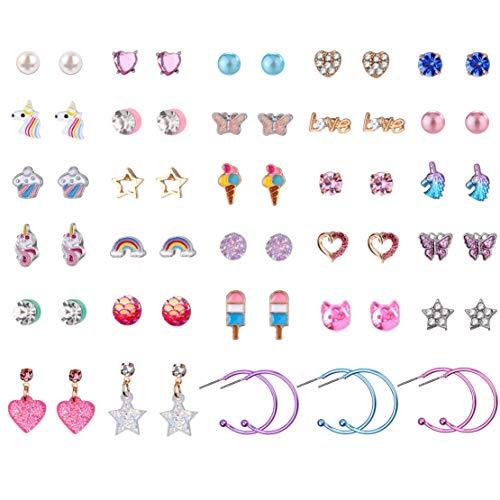Bevan 30 Pairs Hypoallergenic Stainless Steel Mix Color Girls Stud Earrings Sets Unicorn Butterfly Ice Cream Tassel Rainbow Heart CZ Teens Girls Earrings Set